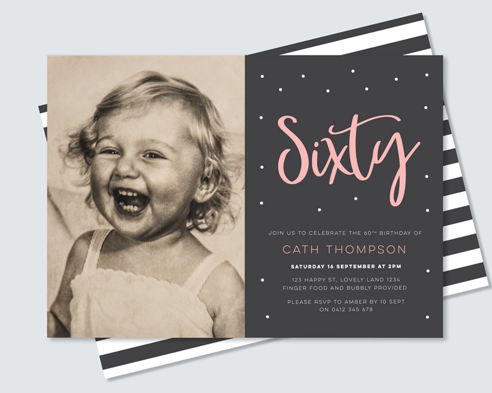 60th birthday invitation with photo - black and white stripe back ...