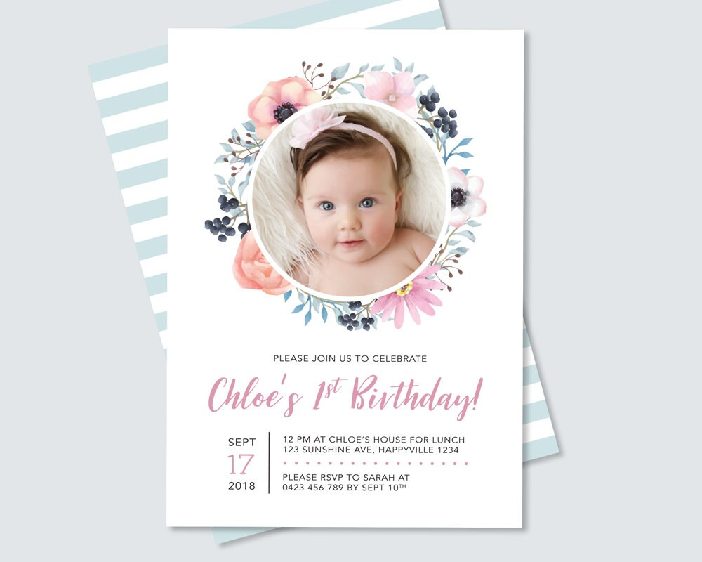 Girl\'s First Birthday Invitation / Pretty Floral 1st Birthday ...