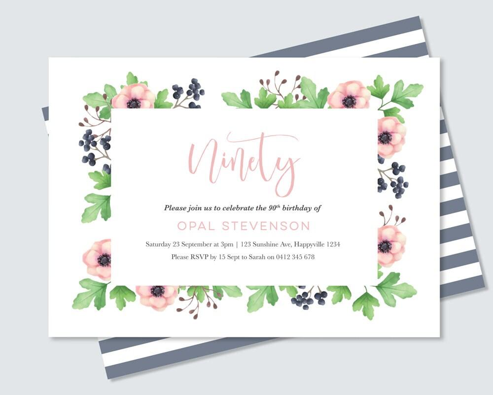 Womens 90th Birthday Invitation Beautiful Water Colour Flowers