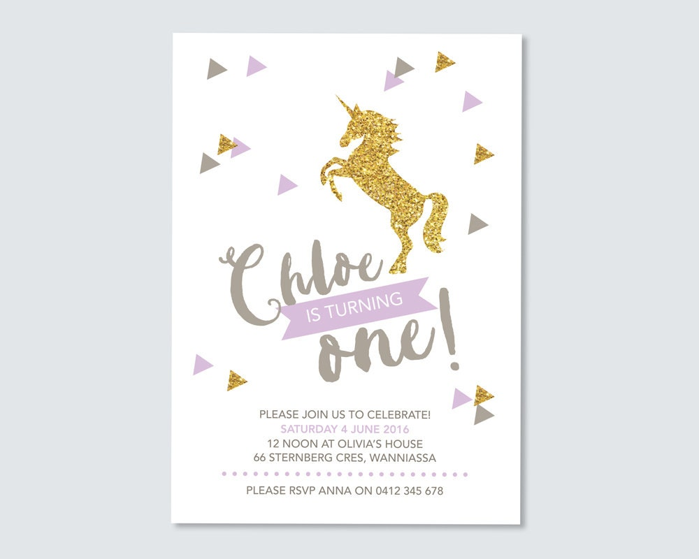 Birthday Unicorn Invitation Gallery Photo