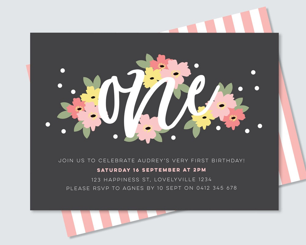 Floral 1st Birthday Invitation Card To Print Yourself Pink Flowers First