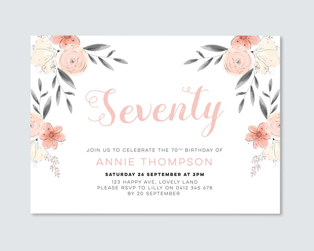 Floral 70th Birthday Invitation Womens Pretty