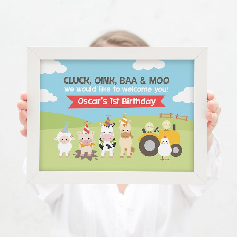 horse Farm animal welcome sign for kids birthday party  barnyard bash 1st birthday party kids party pig cow and chickens party sheep