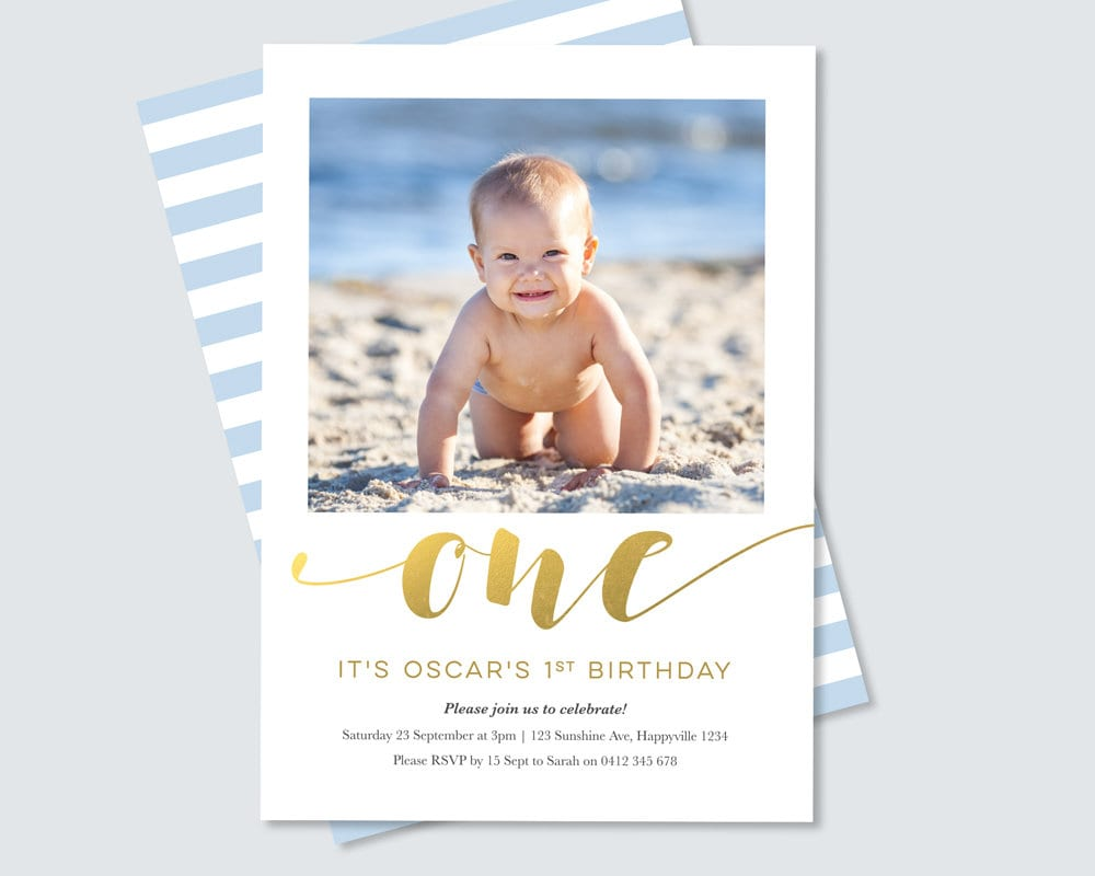 Gold Foil Boys 1st Birthday Invitation with photo / Digital File for ...