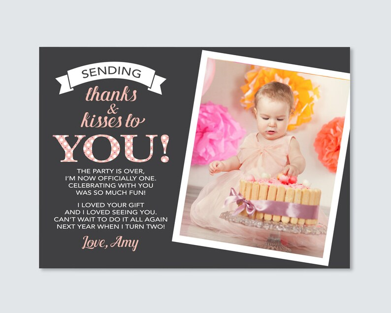 Girls 1st Birthday Thank you card Digital File  For you to image 0