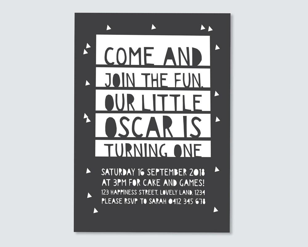 Boy\'s 1st birthday Invitation / paper cut Invitation / kids party ...