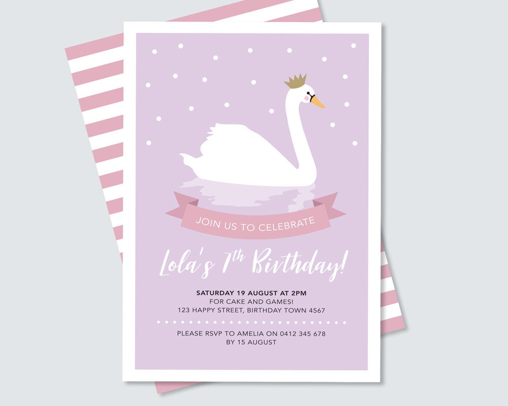 Swan princess birthday party invitation in purple and pink, 2nd, 3rd ...