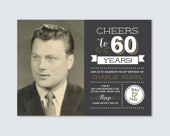 Cheers To 60 Years Mens 60th Birthday Invitation With Photo