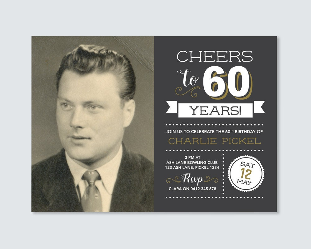 Cheers to 60 years mens 60th birthday invitation with photo mens 60th birthday invitation with photo 70th birthday invitation chalkboard style vintage invitation 60th party filmwisefo