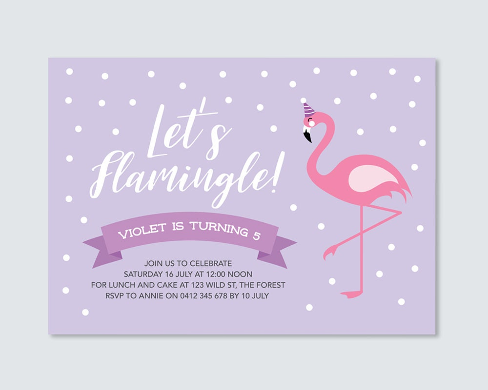 Purple And Pink Flamingo Birthday Party Invitation Card To