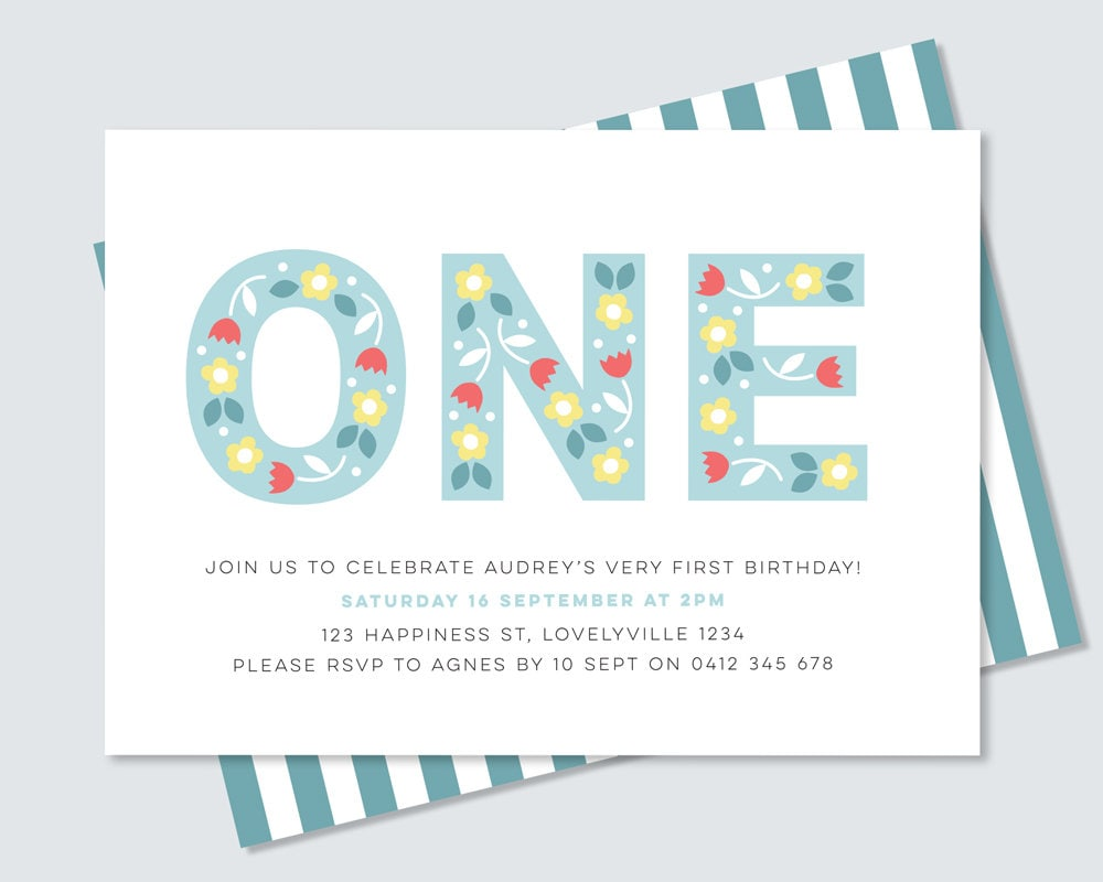 Girl\'s first birthday Party Invitation / Folk Floral 1st Birthday ...