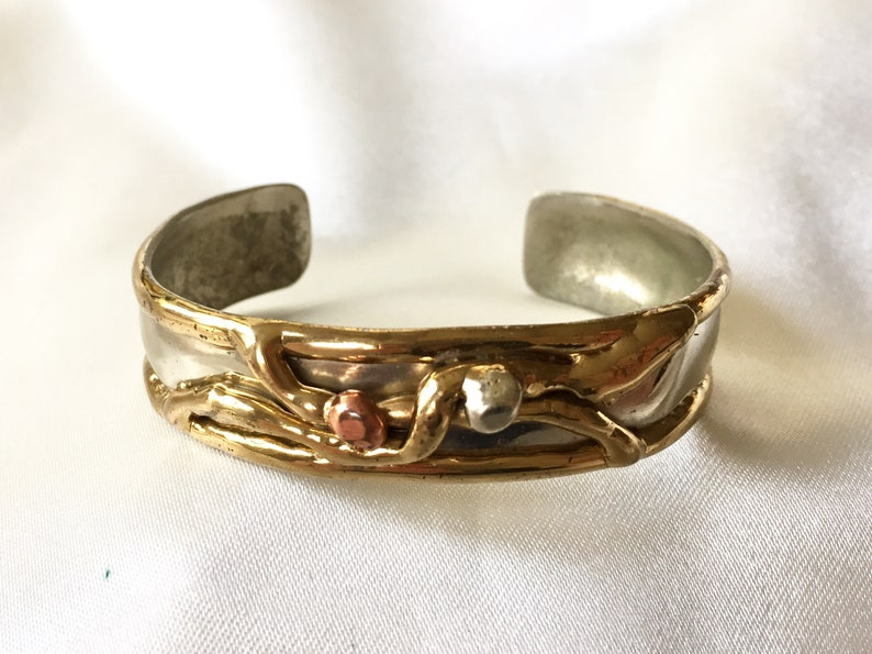 Gold And Copper : Vintage s brutalist modernist gold and silver open cuff etsy