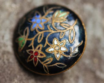 Small Brass Champleve Enamel Floral Button