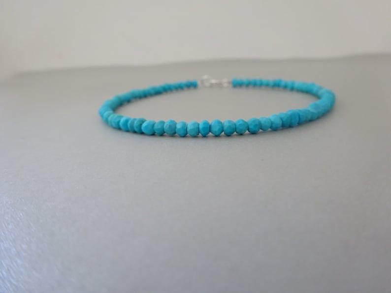 Genuine Turquoise Bracelet Birthstone bracelet December birthstone Chrismas gift for him Mens jewelry Beaded bracelet Mens bracelet