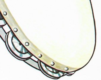 Vintage Tambourine Musical Instrument Print / Old School Midcentury 1960 / Tambourine Percussion Goodness