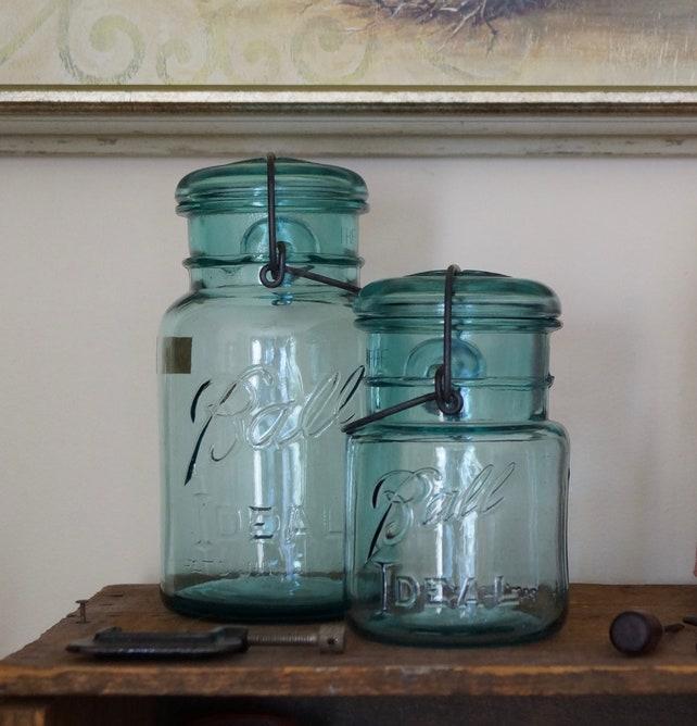 Aqua Blue Glass Vintage Mason Jar Baling Wire Glass Lid Quart   Etsy