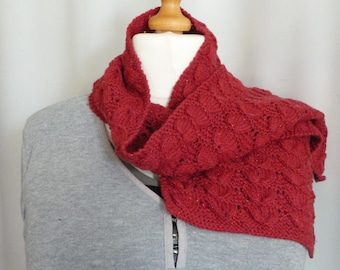 Red, sparkly, lacey scarf