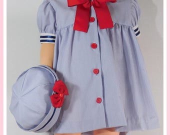 Sailor Dress for Girl,  Baby Girl Sailor Dress, Sailor Hat, Sailor Outfit for Baby
