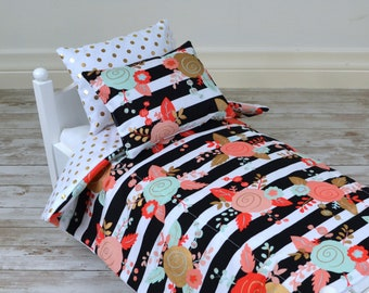 18 Inch Doll's Bedding Set - Black And White Border With Floral - fits American Girl