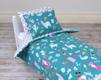 18 inch Doll's Bedding Set - Funny Doodles - fits American Girl Doll