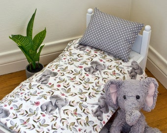 Elephant And Floral Doll Bedding Set, fits American girl and baby doll