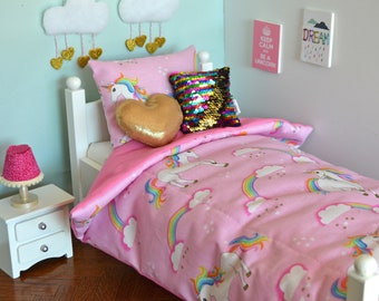 18 Inch Doll's Bedding Set - Unicorn in Pink - Doll Bedding Set for American Girl