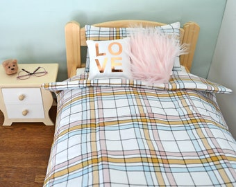 18 Inch Doll's Bedding Set - Plaid Doll Bedding Set for American Girl