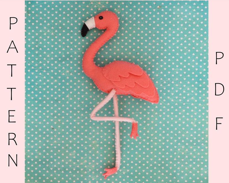 Felt Flamingo PDF Sewing Pattern And Tutorial / Stuffed Animal image 1