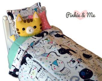 18 inch Doll Bedding 4 Piece Set ~ Cat