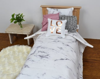 1:6 scale gray marble bedding set for Barbie, Blythe, Licca and more
