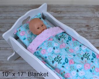 Floral In Aqua Doll Bedding Set - Blanket And Pillow Set - Baby Doll Bedding Set