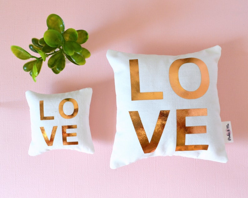 Rose gold LOVE doll accent pillows/ dollhouse accessory image 0
