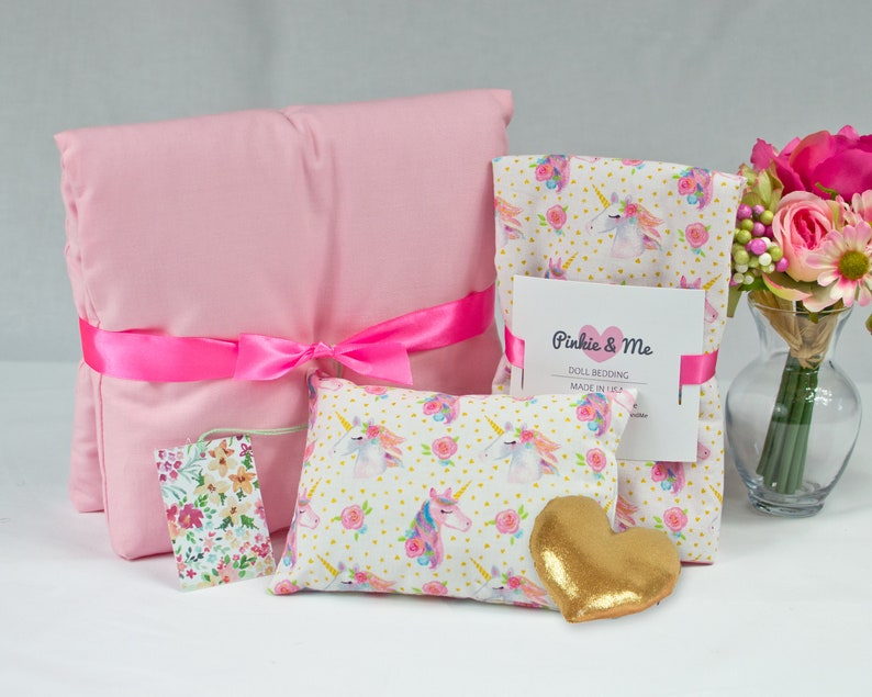 18 Inch Doll's Bedding Set  Unicorn Doll Bedding Gift Set image 1