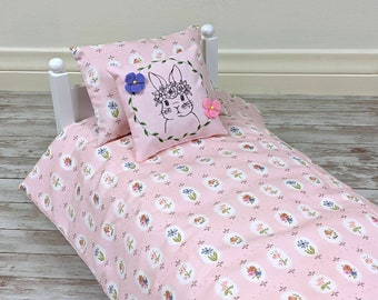 18 Inch Doll's Bedding Set - Shabby Chic Floral in Pink - fits American Girl