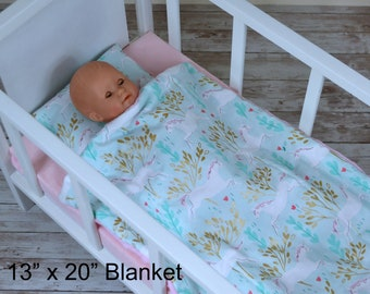 Unicorn In Forest Doll Bedding Set - Blanket And Pillow Set - Baby Doll Crib Bedding Set