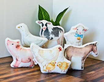 Farm Animal Doll Size Pillows - Small accent pillows for 18 inch doll bedding decor