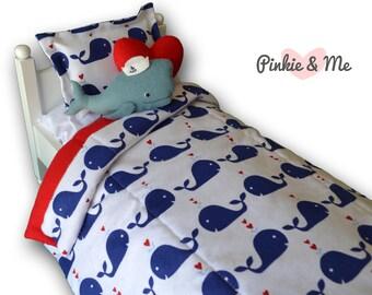 18 inch Doll Bedding 4 Piece Set ~ Whale