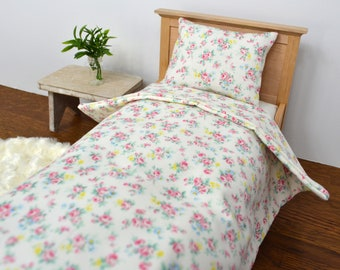 1:6 Scale Tiny Floral Bedding for 12 inch doll, Barbie, Blythe, Licca / Single size bed's bedding