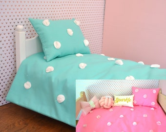 Textured dots doll bedding bedding set in any color / Comforter and Pillow for American Girl, 18 inch doll and more