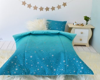 18 Inch Doll's Bedding Set - Aqua Ombre Fairy Dust - Doll Bedding Set for American Girl