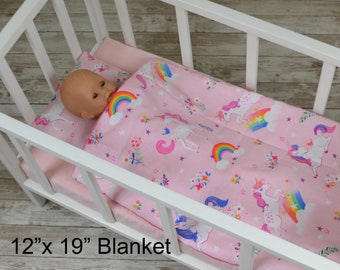 Unicorn in Pink Doll Bedding Set - Blanket And Pillow Set - Baby Doll Crib Bedding