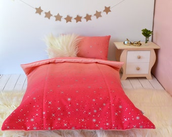 18 Inch Doll's Bedding Set - Pink Ombre Fairy Dust - Doll Bedding Set for American Girl