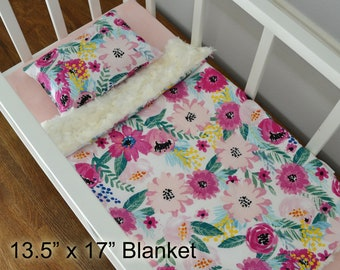 Floral Soft Minky Doll Bedding Set - Blanket And Pillow Set - Baby Doll Crib Bedding