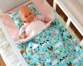 "Farm Animals Doll Bedding Set - Doll's Crib Bedding Fits 18"" Doll"
