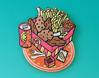 Fried Chicken Meal - Iron-On Patch