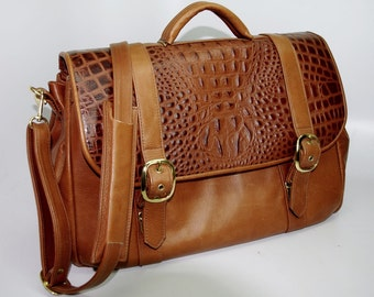 Wide Flap Briefcase - medium brown w/ medium brown croco accent