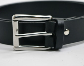 "1 1/2"" extra long Black American Bridle leather belt - 1 1/2 stainless steel buckle"