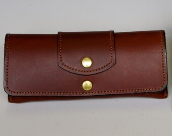 Hard leather eyeglass case