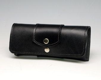 Hard leather eyeglass case - Black