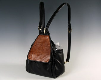 Irene Purse Pack - Black w/ Light Brown Croco accent